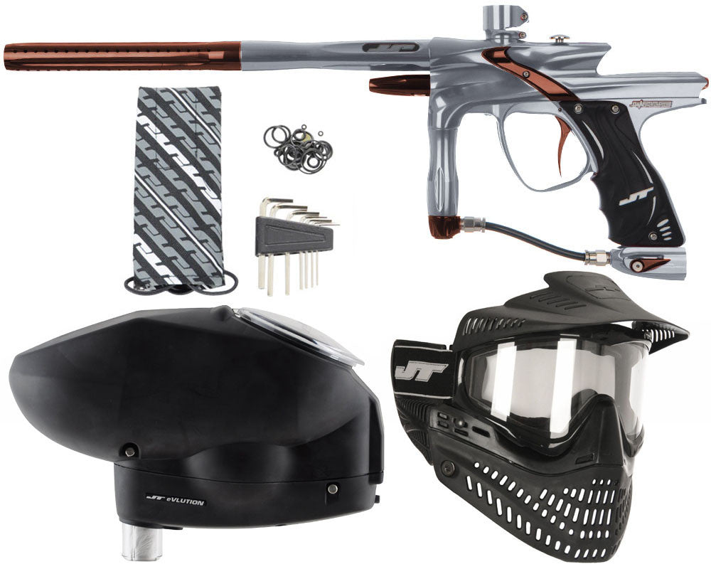 JT Impulse Paintball Gun w/ Free JT Proflex Mask & Evlution Loader - Charcoal/Brown