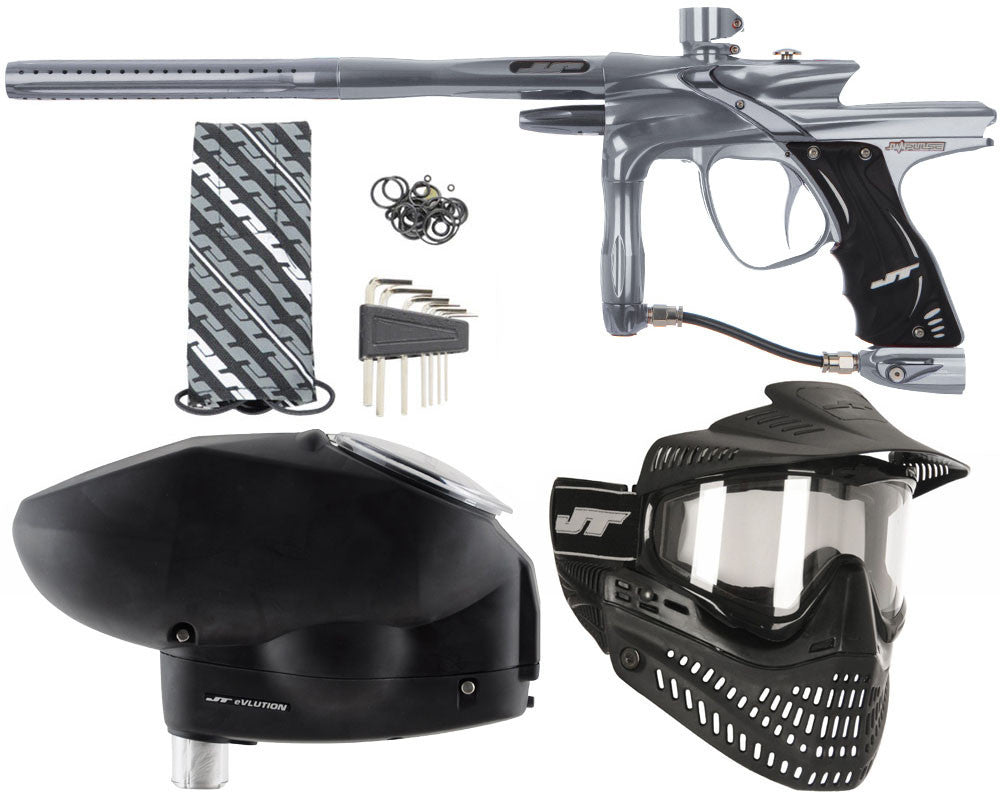 JT Impulse Paintball Gun w/ Free JT Proflex Mask & Evlution Loader - Charcoal/Charcoal
