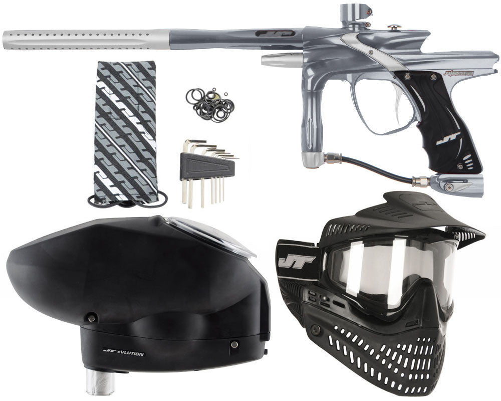 JT Impulse Paintball Gun w/ Free JT Proflex Mask & Evlution Loader - Charcoal/Dust Silver