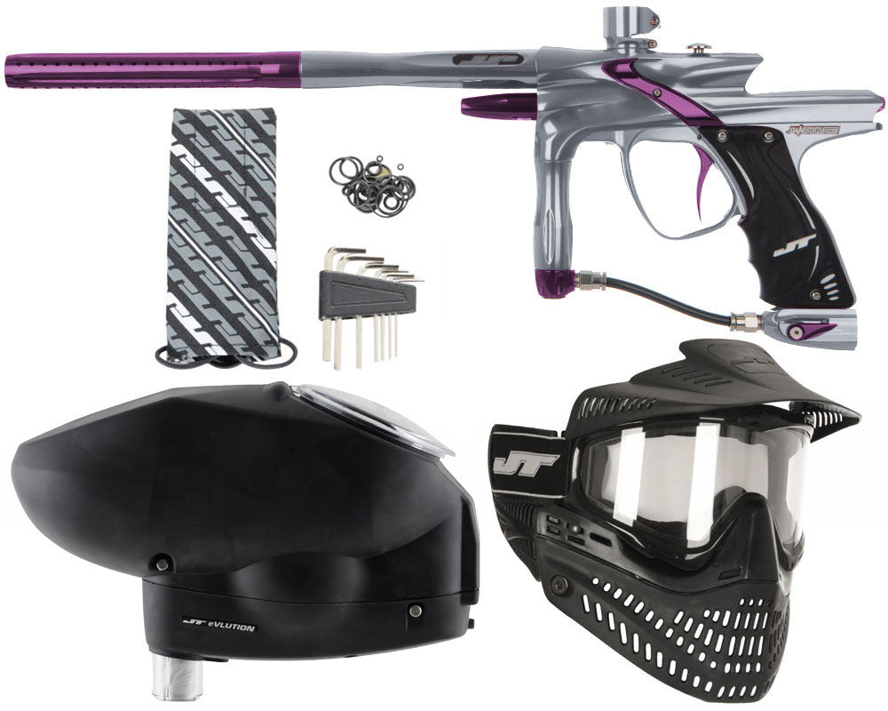 JT Impulse Paintball Gun w/ Free JT Proflex Mask & Evlution Loader - Charcoal/Eggplant