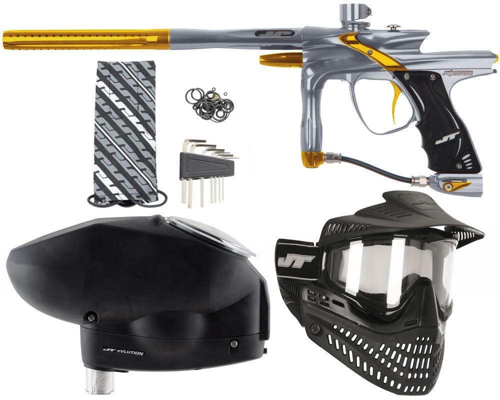 JT Impulse Paintball Gun w/ Free JT Proflex Mask & Evlution Loader - Charcoal/Gold