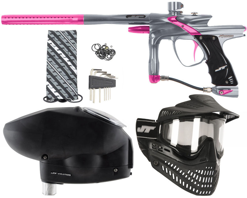 JT Impulse Paintball Gun w/ Free JT Proflex Mask & Evlution Loader - Charcoal/Pink