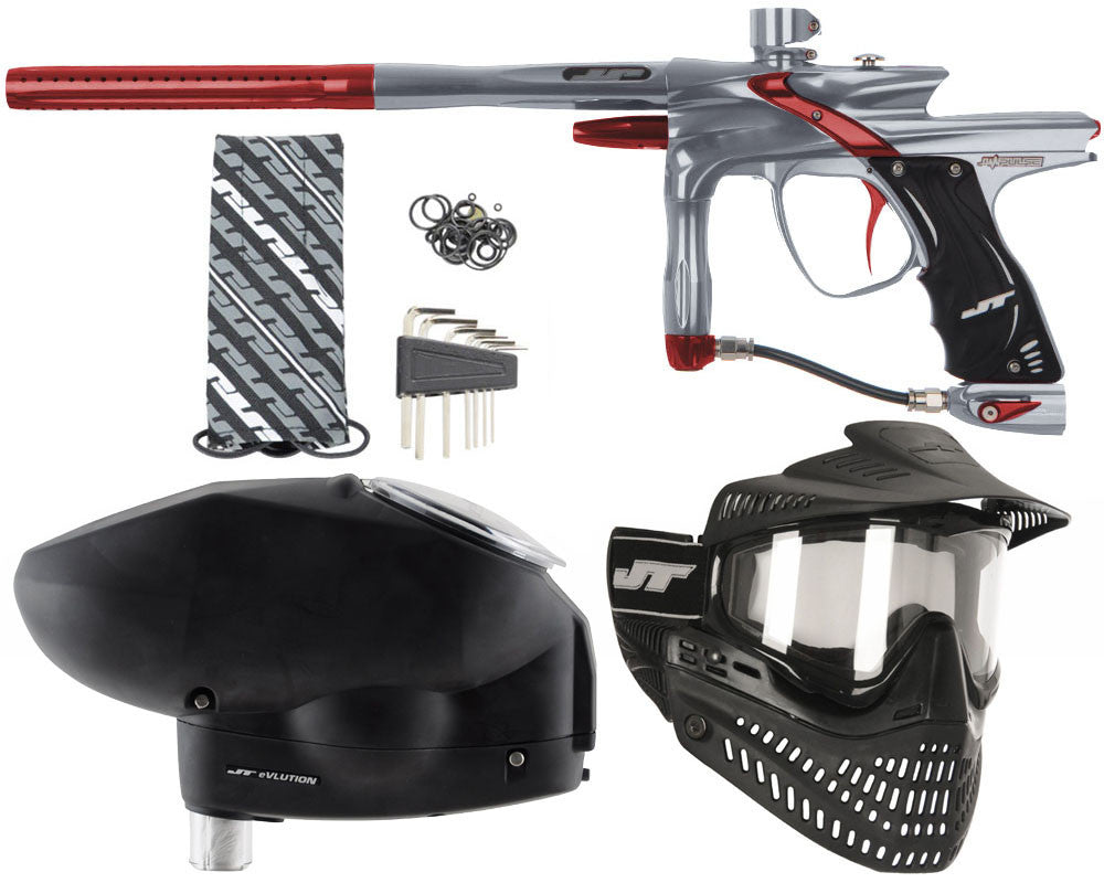 JT Impulse Paintball Gun w/ Free JT Proflex Mask & Evlution Loader - Charcoal/Red