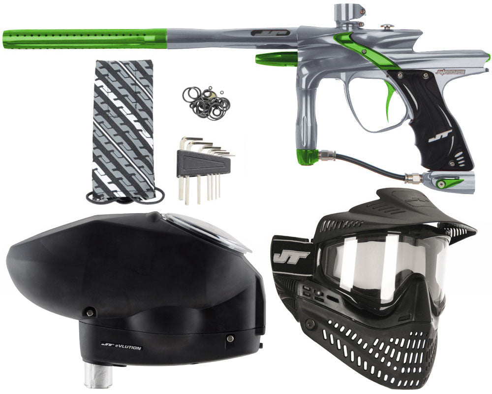 JT Impulse Paintball Gun w/ Free JT Proflex Mask & Evlution Loader - Charcoal/Slime