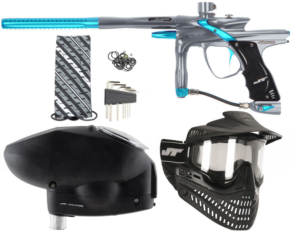 JT Impulse Paintball Gun w/ Free JT Proflex Mask & Evlution Loader - Charcoal/Teal