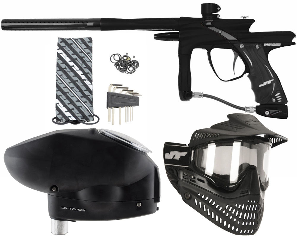 JT Impulse Paintball Gun w/ Free JT Proflex Mask & Evlution Loader - Dust Black/Black