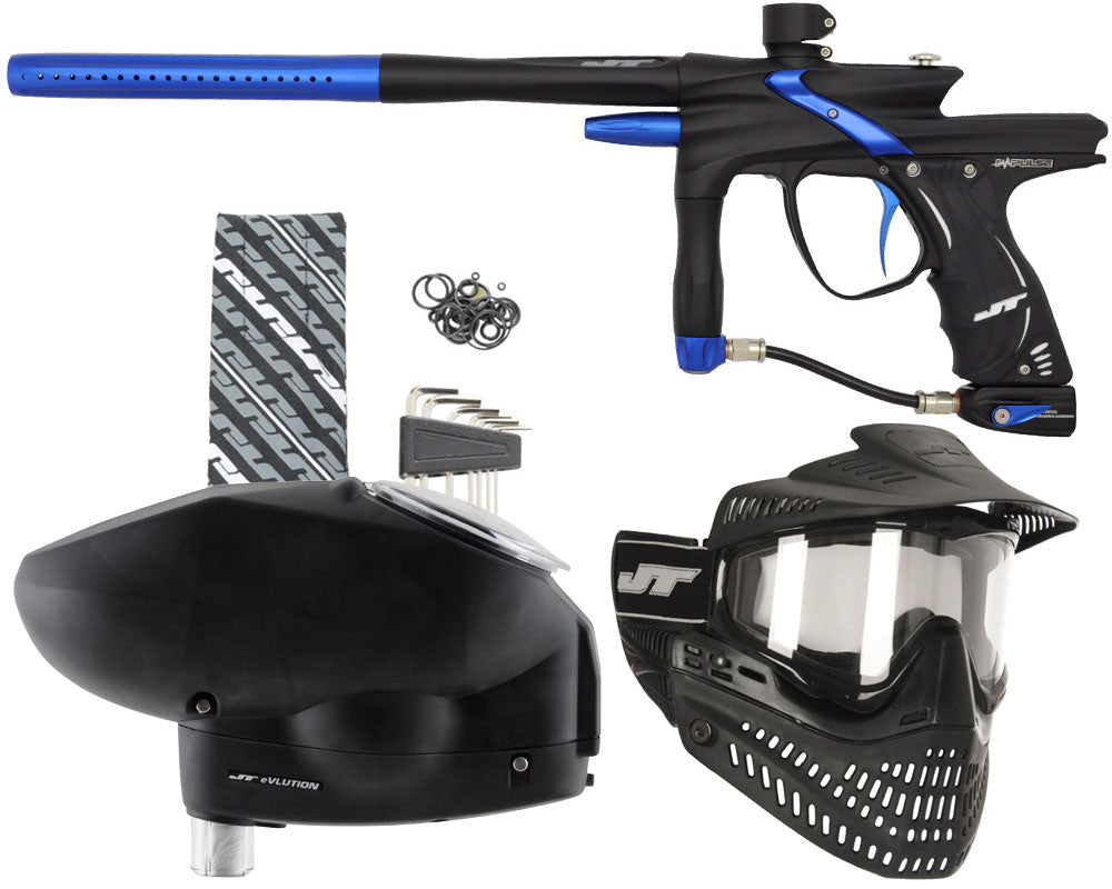 JT Impulse Paintball Gun w/ Free JT Proflex Mask & Evlution Loader - Dust Black/Blue
