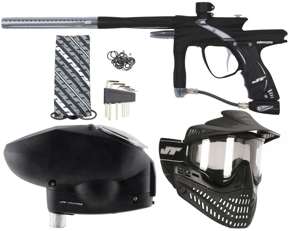 JT Impulse Paintball Gun w/ Free JT Proflex Mask & Evlution Loader - Dust Black/Charcoal