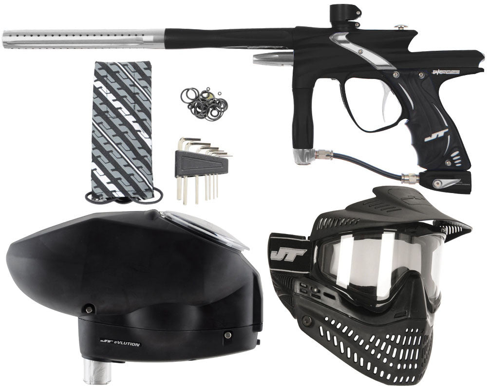 JT Impulse Paintball Gun w/ Free JT Proflex Mask & Evlution Loader - Dust Black/Dust Silver