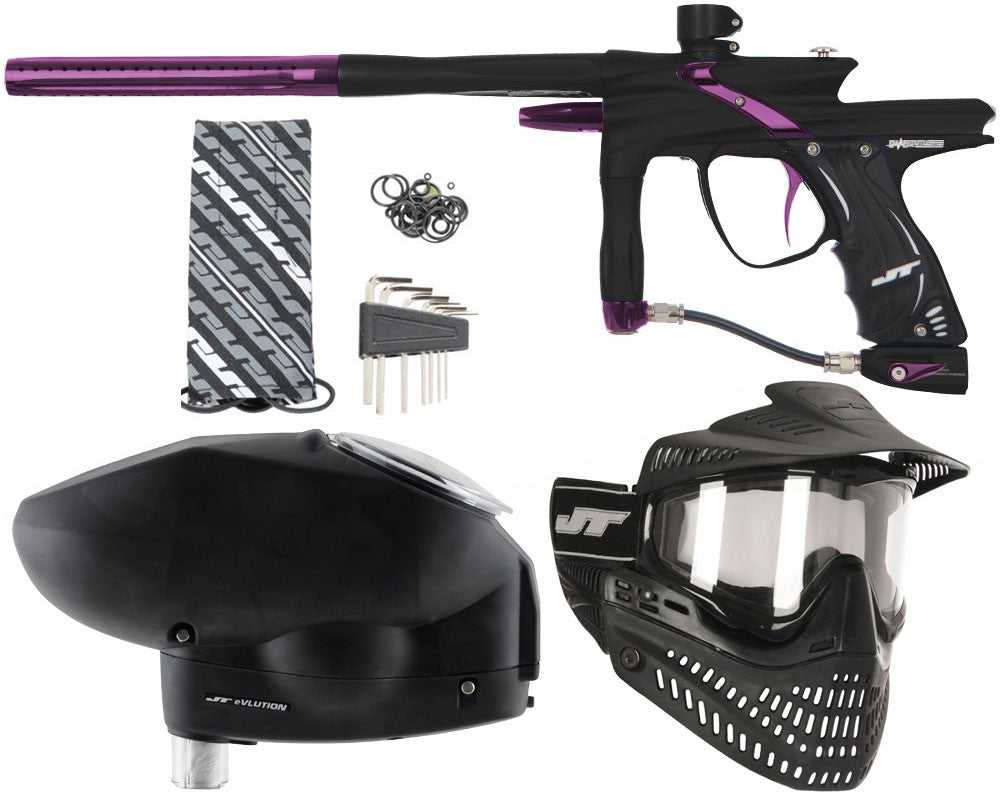 JT Impulse Paintball Gun w/ Free JT Proflex Mask & Evlution Loader - Dust Black/Eggplant