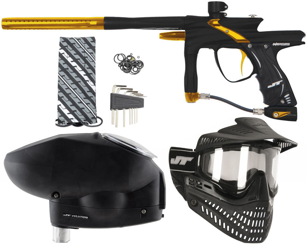 JT Impulse Paintball Gun w/ Free JT Proflex Mask & Evlution Loader - Dust Black/Gold
