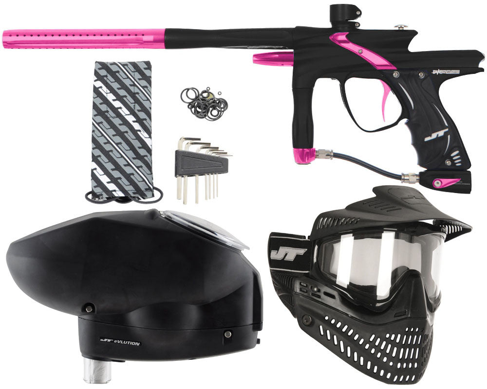 JT Impulse Paintball Gun w/ Free JT Proflex Mask & Evlution Loader - Dust Black/Pink
