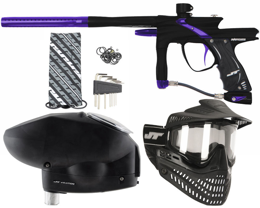JT Impulse Paintball Gun w/ Free JT Proflex Mask & Evlution Loader - Dust Black/Purple