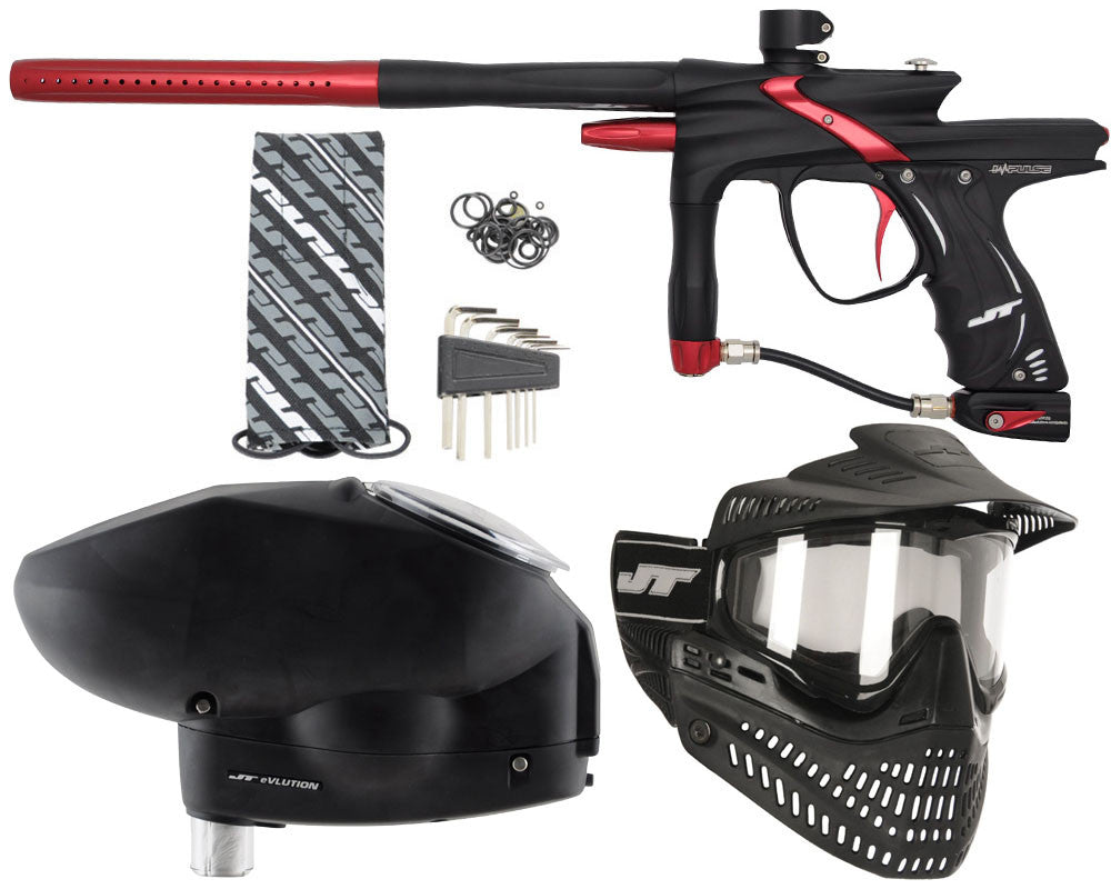 JT Impulse Paintball Gun w/ Free JT Proflex Mask & Evlution Loader - Dust Black/Red