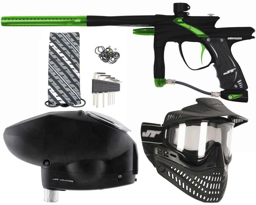 JT Impulse Paintball Gun w/ Free JT Proflex Mask & Evlution Loader - Dust Black/Slime