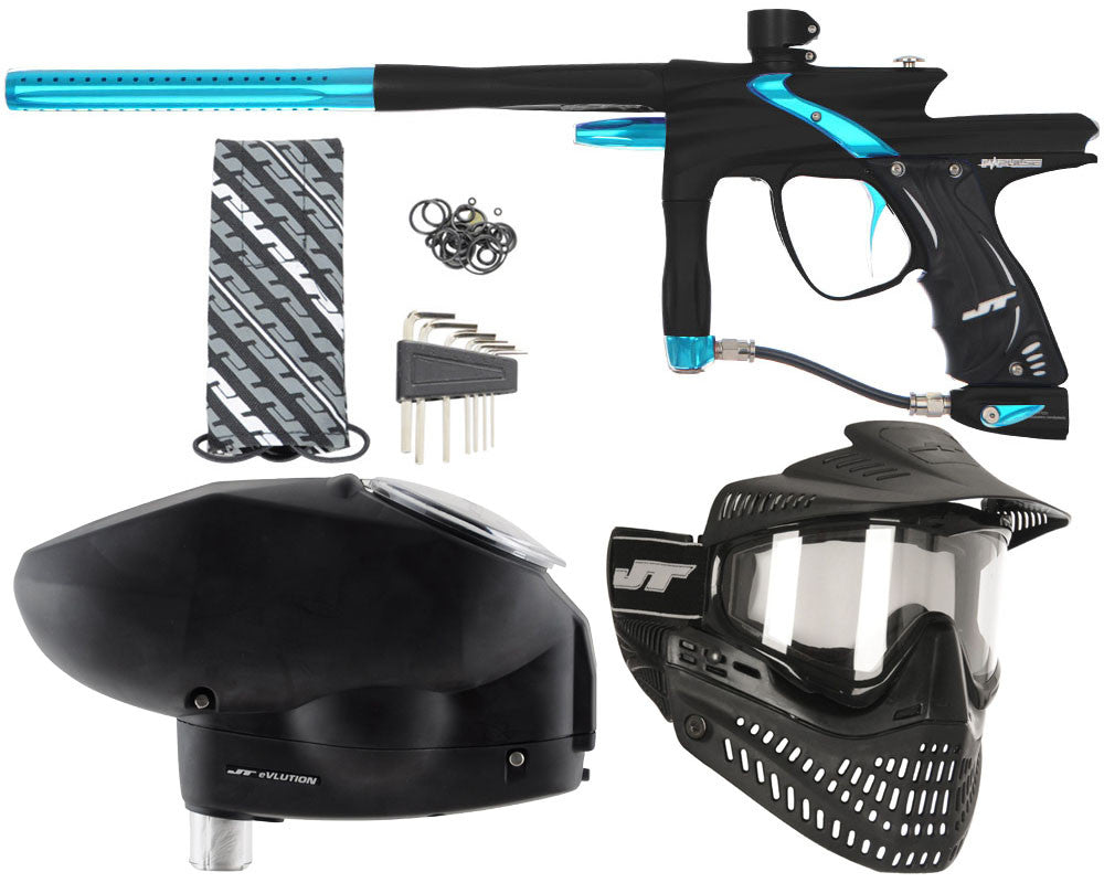 JT Impulse Paintball Gun w/ Free JT Proflex Mask & Evlution Loader - Dust Black/Teal