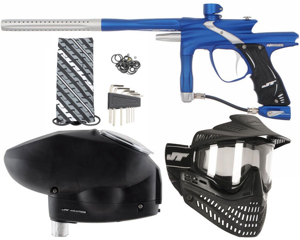 JT Impulse Paintball Gun w/ Free JT Proflex Mask & Evlution Loader - Dust Blue/Dust Silver