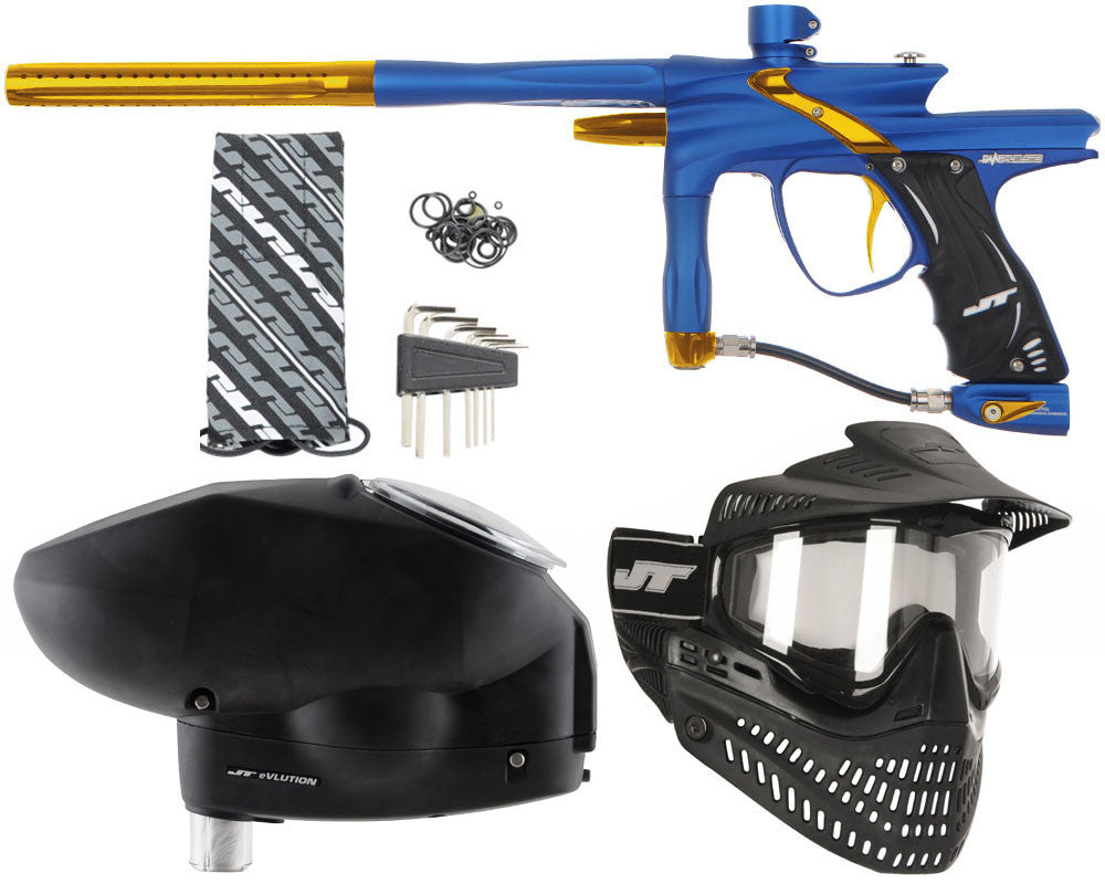 JT Impulse Paintball Gun w/ Free JT Proflex Mask & Evlution Loader - Dust Blue/Gold