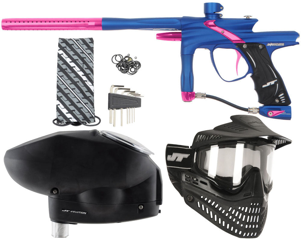 JT Impulse Paintball Gun w/ Free JT Proflex Mask & Evlution Loader - Dust Blue/Pink