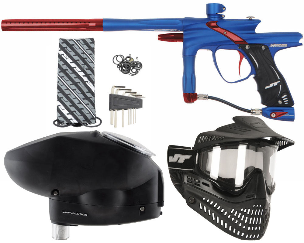 JT Impulse Paintball Gun w/ Free JT Proflex Mask & Evlution Loader - Dust Blue/Red