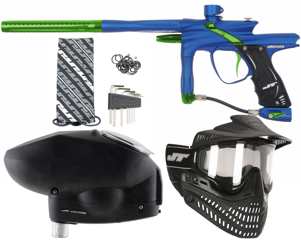 JT Impulse Paintball Gun w/ Free JT Proflex Mask & Evlution Loader - Dust Blue/Slime