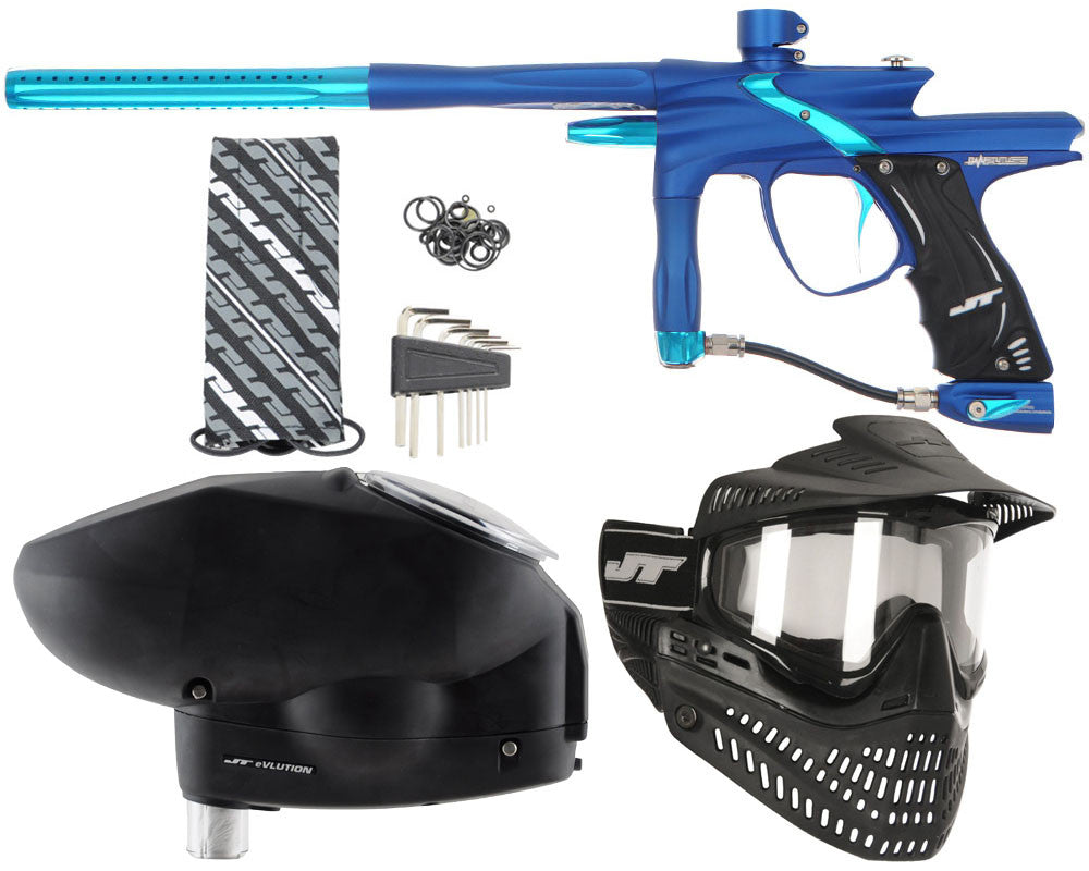 JT Impulse Paintball Gun w/ Free JT Proflex Mask & Evlution Loader - Dust Blue/Teal