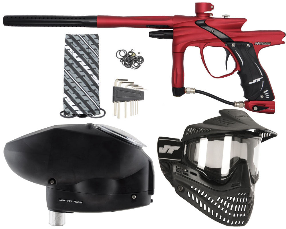 JT Impulse Paintball Gun w/ Free JT Proflex Mask & Evlution Loader - Dust Red/Black
