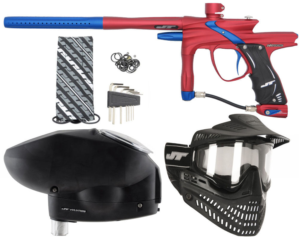 JT Impulse Paintball Gun w/ Free JT Proflex Mask & Evlution Loader - Dust Red/Blue