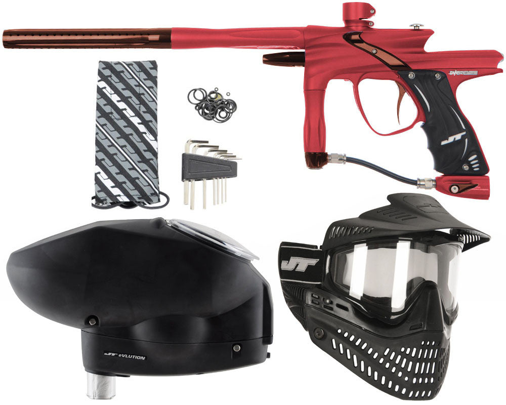 JT Impulse Paintball Gun w/ Free JT Proflex Mask & Evlution Loader - Dust Red/Brown