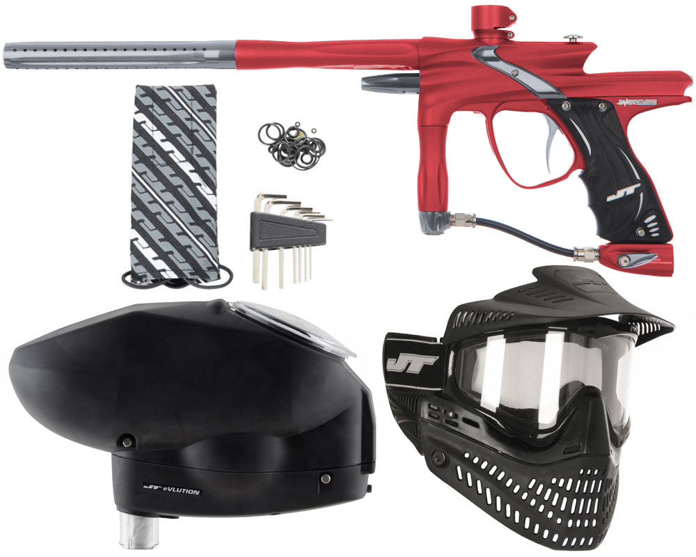 JT Impulse Paintball Gun w/ Free JT Proflex Mask & Evlution Loader - Dust Red/Charcoal