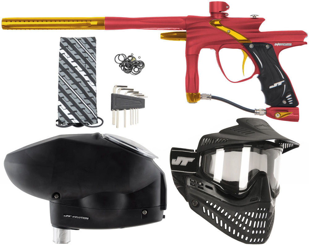 JT Impulse Paintball Gun w/ Free JT Proflex Mask & Evlution Loader - Dust Red/Gold