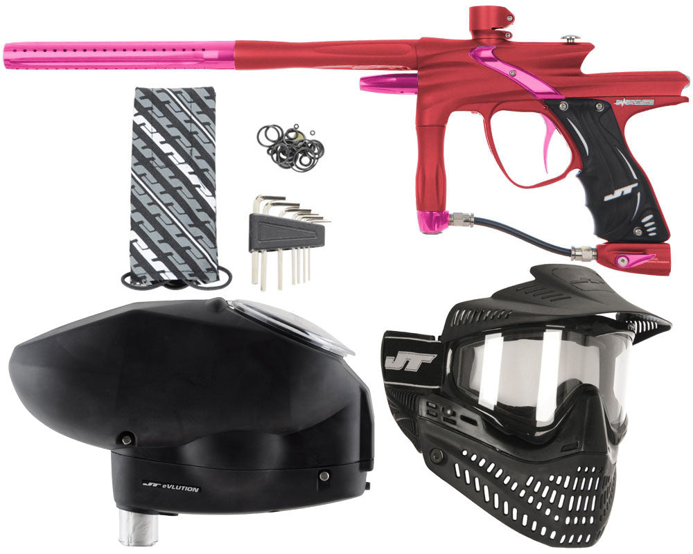 JT Impulse Paintball Gun w/ Free JT Proflex Mask & Evlution Loader - Dust Red/Pink