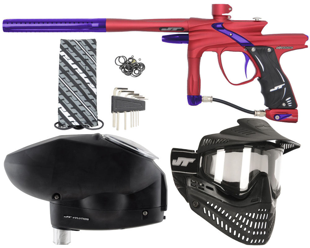 JT Impulse Paintball Gun w/ Free JT Proflex Mask & Evlution Loader - Dust Red/Purple