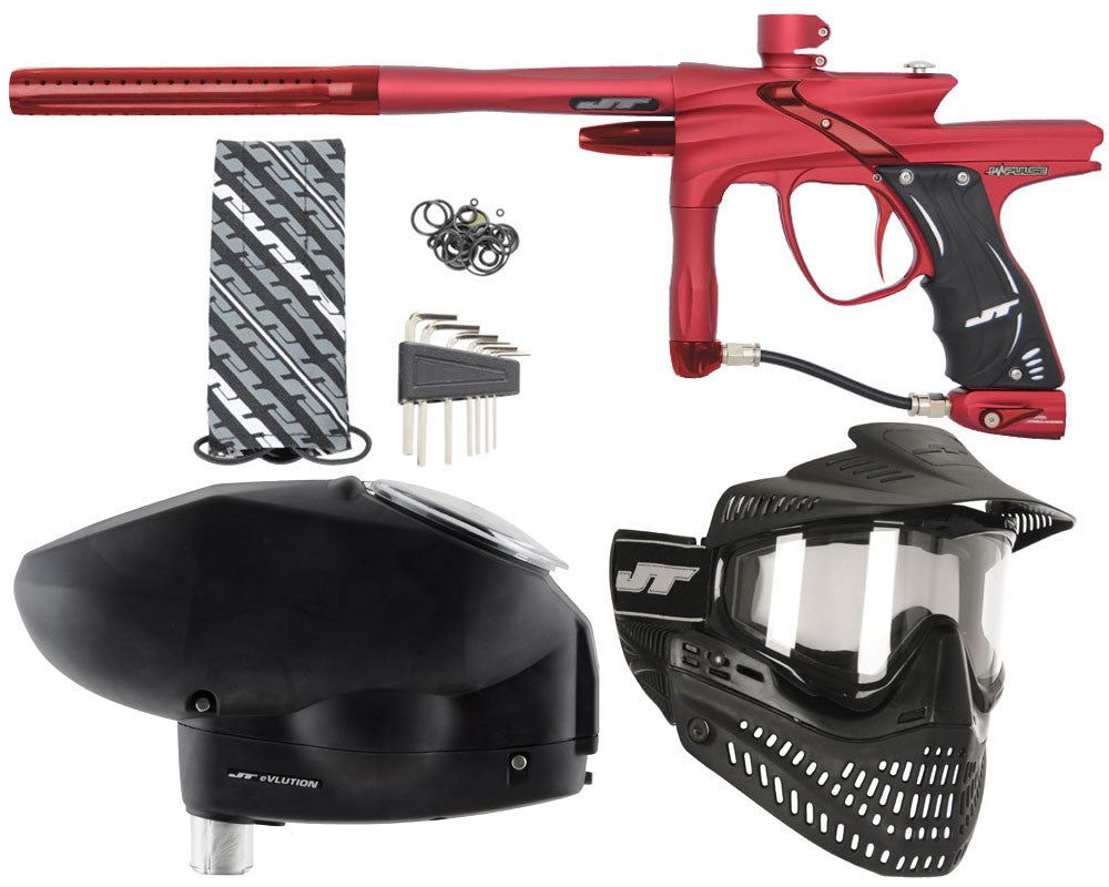 JT Impulse Paintball Gun w/ Free JT Proflex Mask & Evlution Loader - Dust Red/Red