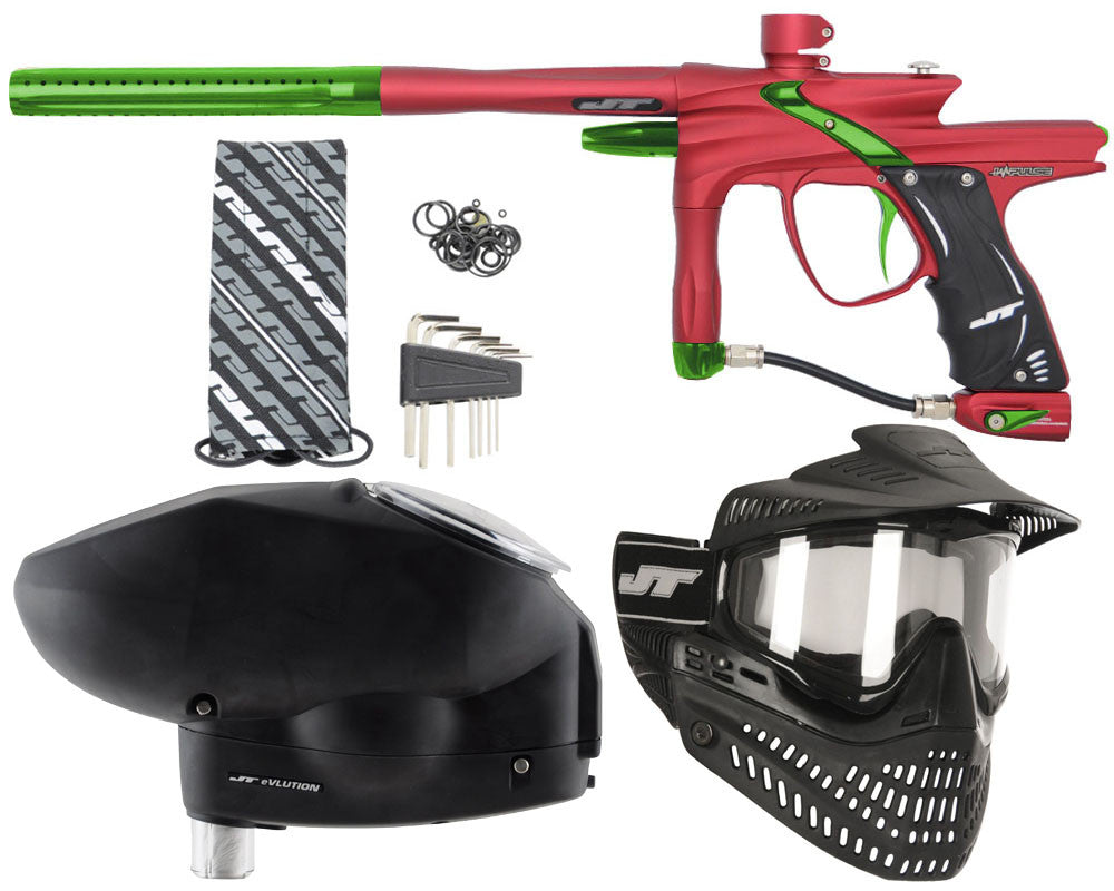 JT Impulse Paintball Gun w/ Free JT Proflex Mask & Evlution Loader - Dust Red/Slime