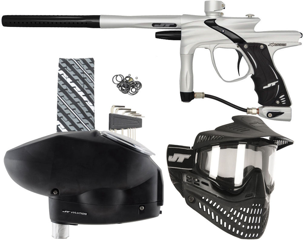 JT Impulse Paintball Gun w/ Free JT Proflex Mask & Evlution Loader - Dust Silver/Black