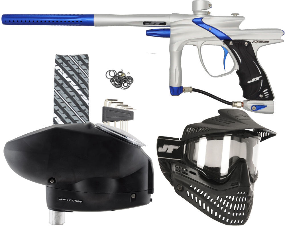 JT Impulse Paintball Gun w/ Free JT Proflex Mask & Evlution Loader - Dust Silver/Blue
