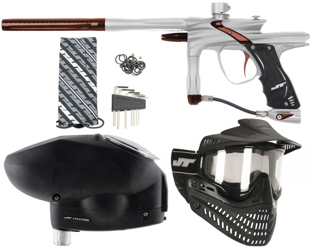JT Impulse Paintball Gun w/ Free JT Proflex Mask & Evlution Loader - Dust Silver/Brown