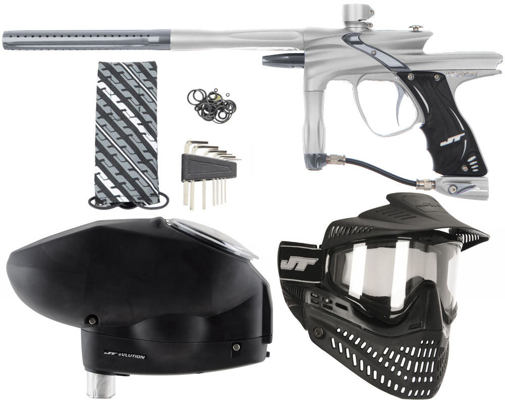 JT Impulse Paintball Gun w/ Free JT Proflex Mask & Evlution Loader - Dust Silver/Charcoal