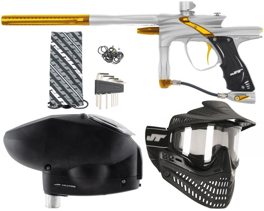 JT Impulse Paintball Gun w/ Free JT Proflex Mask & Evlution Loader - Dust Silver/Gold