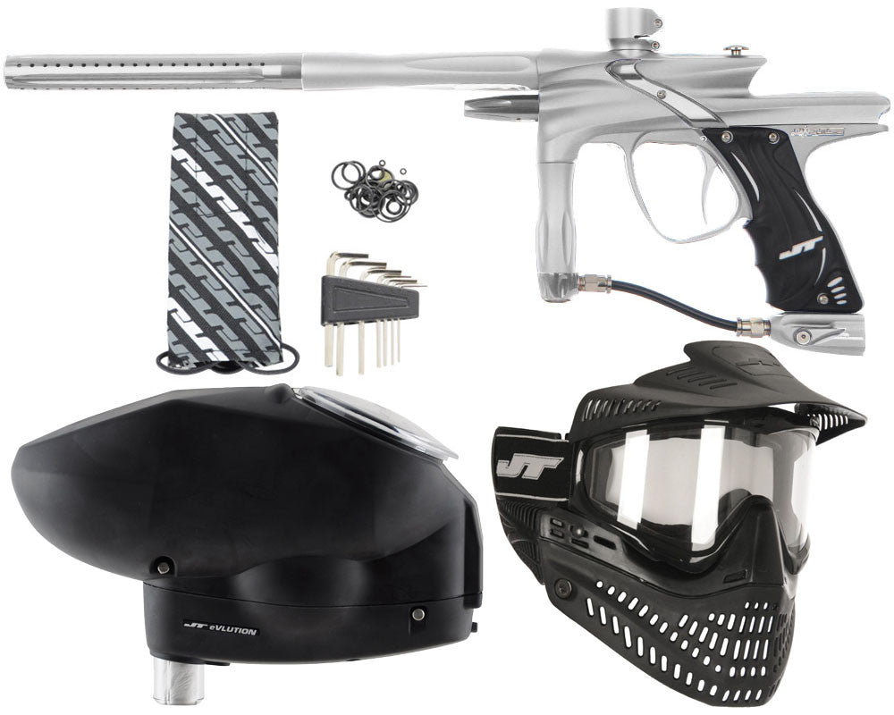 JT Impulse Paintball Gun w/ Free JT Proflex Mask & Evlution Loader - Dust Silver/Grey