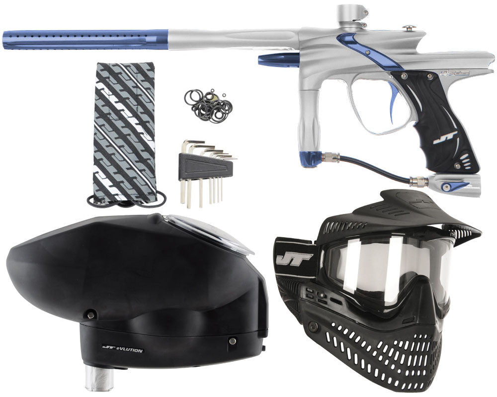 JT Impulse Paintball Gun w/ Free JT Proflex Mask & Evlution Loader - Dust Silver/Gun Metal