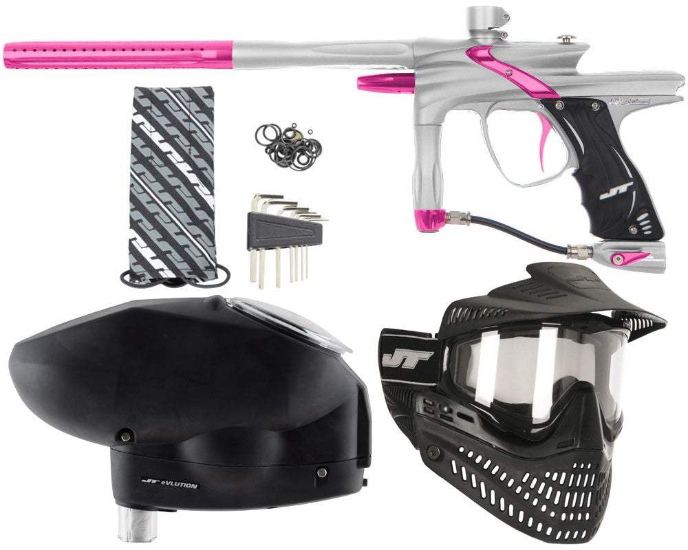JT Impulse Paintball Gun w/ Free JT Proflex Mask & Evlution Loader - Dust Silver/Pink