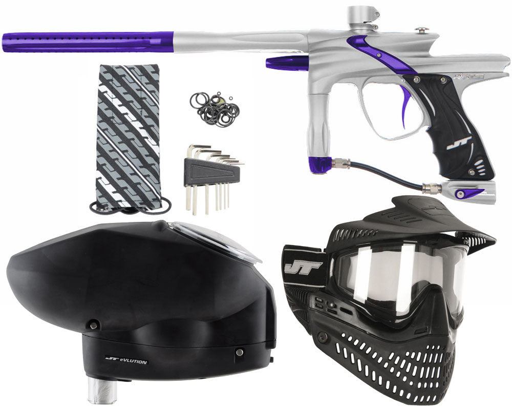 JT Impulse Paintball Gun w/ Free JT Proflex Mask & Evlution Loader - Dust Silver/Purple
