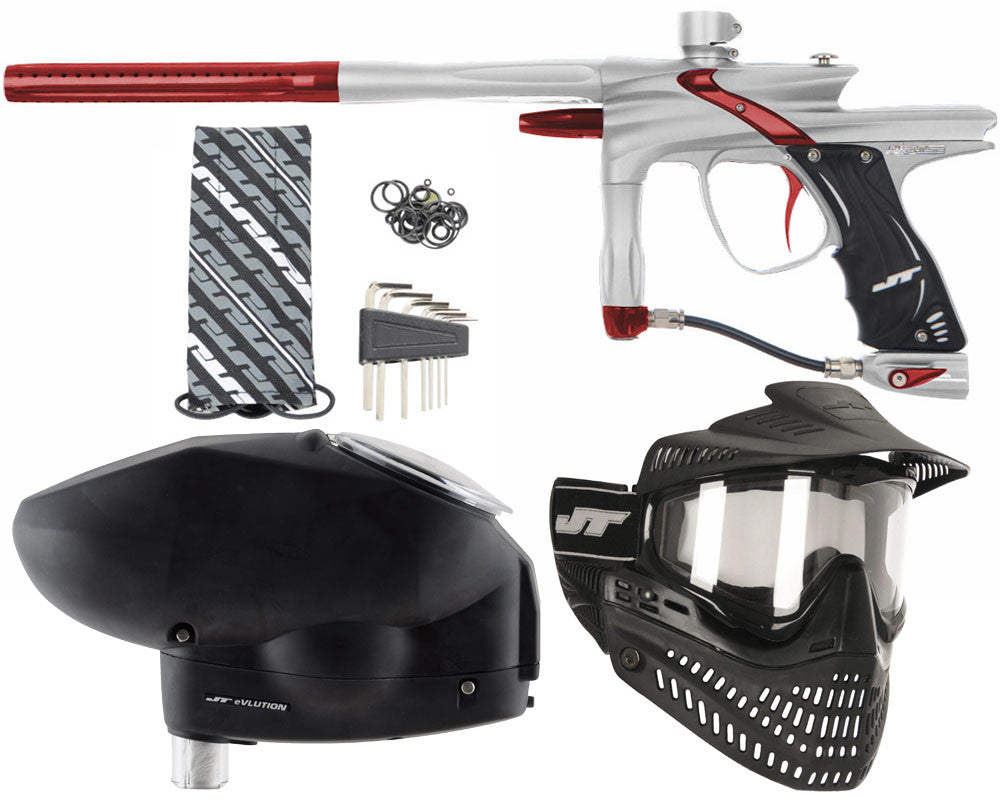 JT Impulse Paintball Gun w/ Free JT Proflex Mask & Evlution Loader - Dust Silver/Red