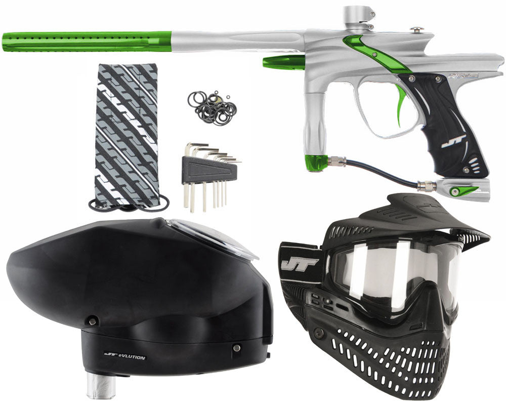JT Impulse Paintball Gun w/ Free JT Proflex Mask & Evlution Loader - Dust Silver/Slime