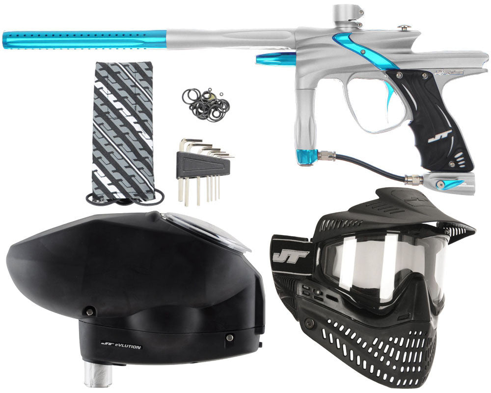 JT Impulse Paintball Gun w/ Free JT Proflex Mask & Evlution Loader - Dust Silver/Teal