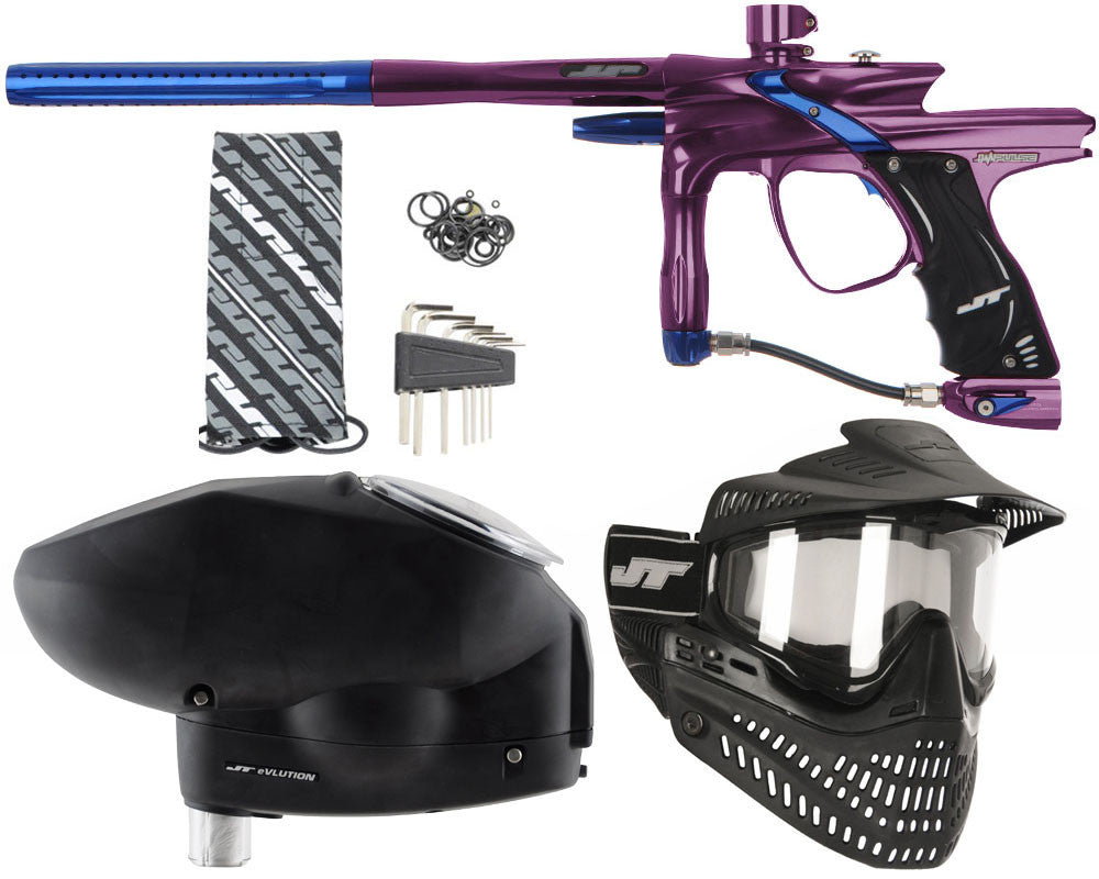 JT Impulse Paintball Gun w/ Free JT Proflex Mask & Evlution Loader - Eggplant/Blue