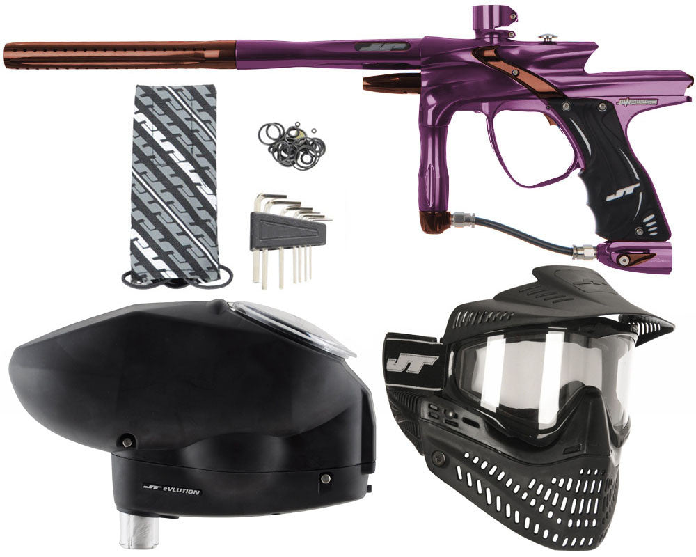 JT Impulse Paintball Gun w/ Free JT Proflex Mask & Evlution Loader - Eggplant/Brown