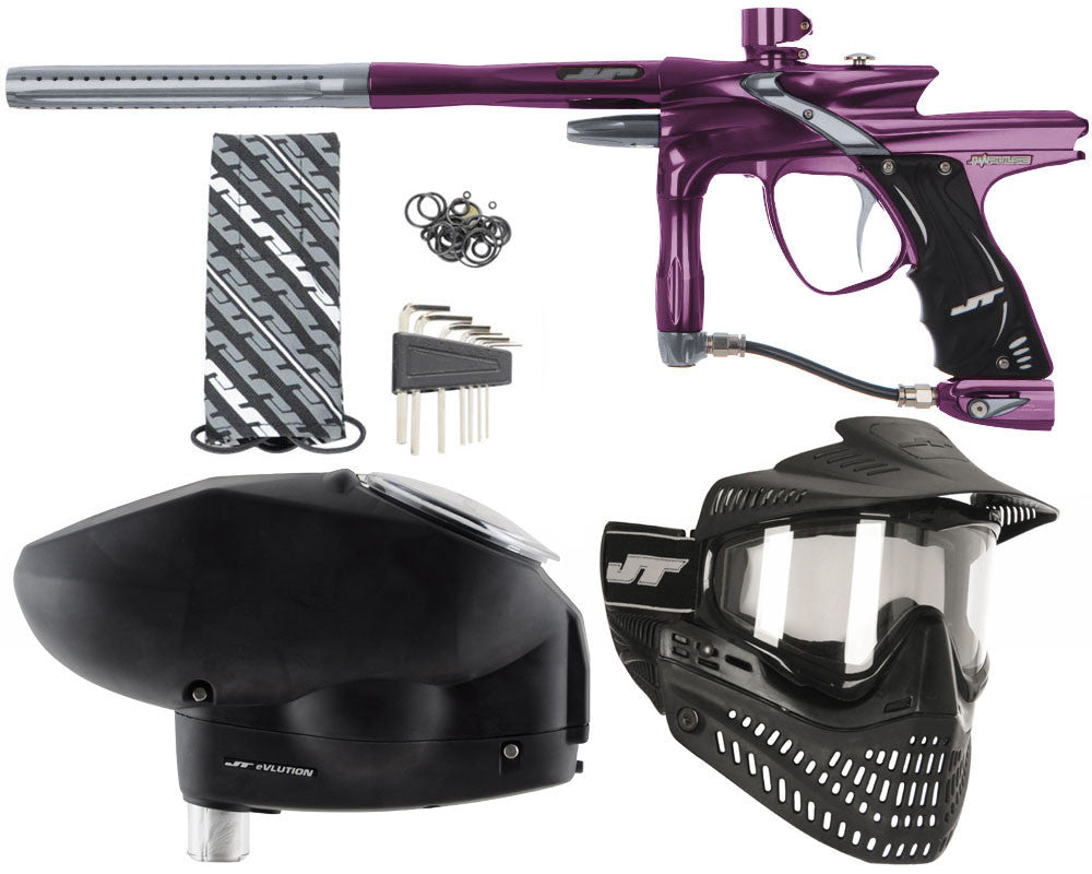 JT Impulse Paintball Gun w/ Free JT Proflex Mask & Evlution Loader - Eggplant/Charcoal